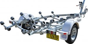 Single Axle Braked Multi Roller Boat Trailer-0